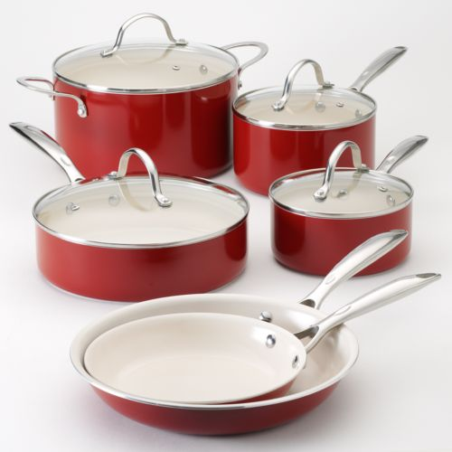 Food Network™ 10-pc. Red Nonstick Ceramic Cookware Set