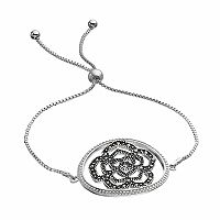 Brilliance Silver Plated Marcasite Flower Lariat Bracelet