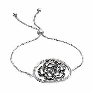 Brilliance Silver Plated Marcasite Flower Lariat Bracelet