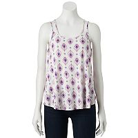 Juniors' Pink Republic Strappy Back Woven Tank
