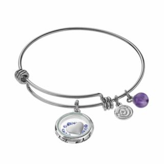 """love this lifeAmethyst & Crystal """"#1 Aunt"""" Floating Charm Bangle Bracelet"""