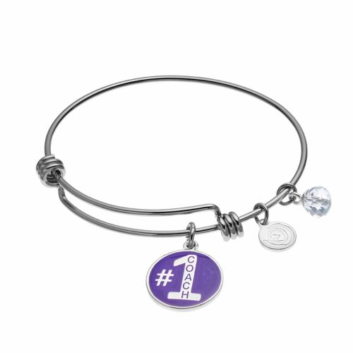 "love this life Crystal ""#1 Coach"" Charm Bangle Bracelet"
