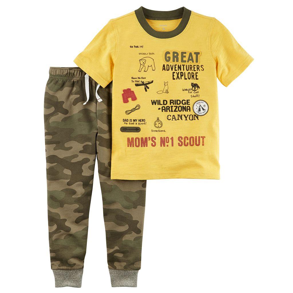 Toddler Boy Carter's Explorer Graphic Tee & Camo Pants Set