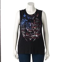 Plus Size Rock & Republic® Embellished Eagle Tank
