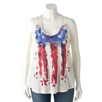 Plus Size Rock & Republic® Embellished Stars & Stripes Tank