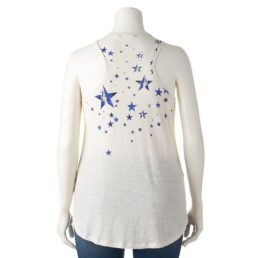 Plus Size Rock & Republic® Embellished Stars & Stripes Tank