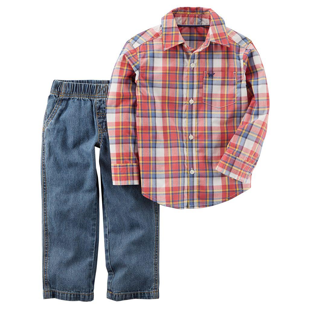 Toddler Boy Carter's Plaid Shirt & Jeans Set