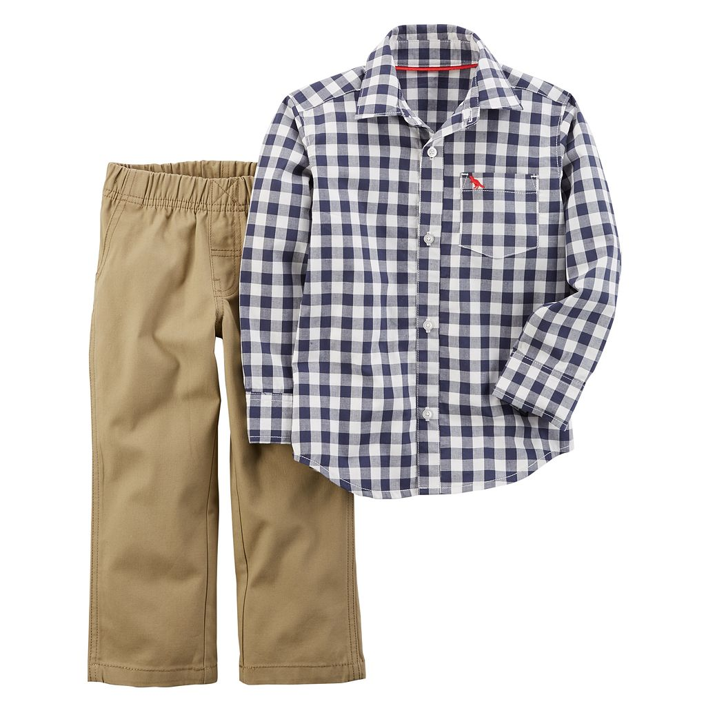 Toddler Boy Carter's Gingham Button-Front Shirt & Pants Set