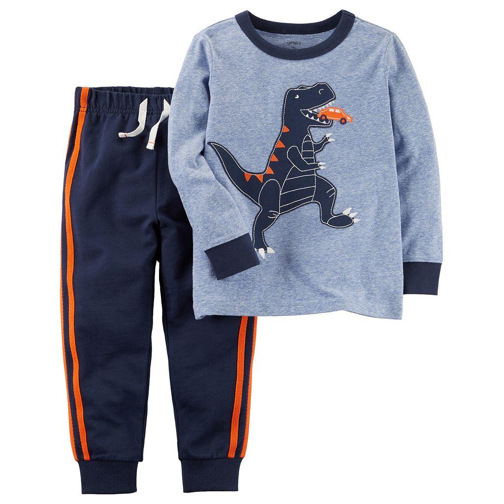 Toddler Boy Carter's Long-Sleeved Dinosaur Tee & Pants Set