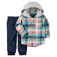 Toddler Boy Carter's Hooded Checked Shirt & Pants Set