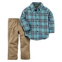 Toddler Boy Carter's Flannel Shirt & Khaki Pants Set