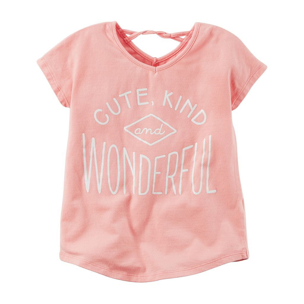 Toddler Girl Carter's Twist Back Glitter Graphic Tee