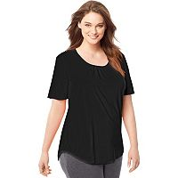 Plus Size Just My Size Shirred Scoopneck Tee