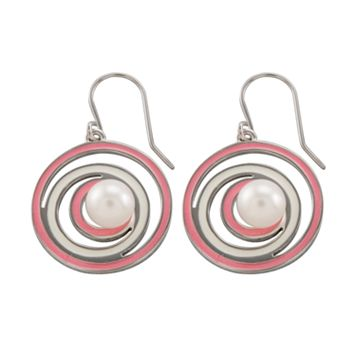 Sterling Silver Freshwater Cultured Pearl Swirl Drop Earrings