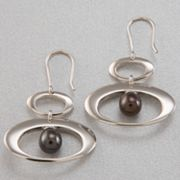 Sterling Silver Dyed Freshwater Cultured Pearl Drop Earrings