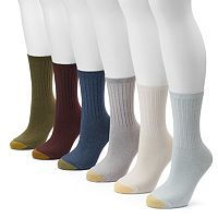GOLDTOE 6-pk. Ribbed Crew Socks - Women