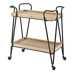 Linon Mid-Century Modern 2-Shelf Bar Cart