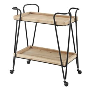 Linon Mid-Century Modern 2-Shelf Bar Cart