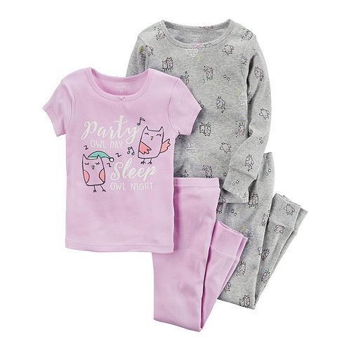 Kids Essentials Baby Girl Pyjamas Owl Mix and Match 2 Pack Set
