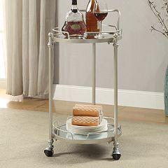 Linon 2-Shelf Round Mirrored Bar Cart