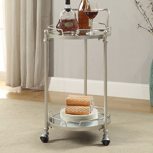 Linon 2-Shelf Round Mirrored Bar Cart