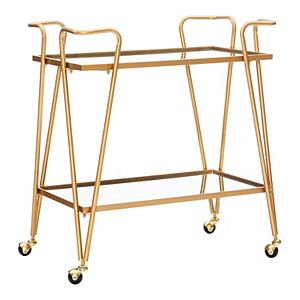 Linon Gold Finish Mirrored Bar Cart