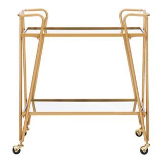Linon Gold Finish Mirrored Bar Cart