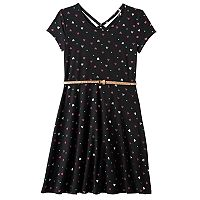 Girls 7-16 & Plus Size SO® Double Criss-Cross Back Belted Skater Dress