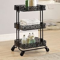 Linon Black 3-Tier Rolling Storage Cart
