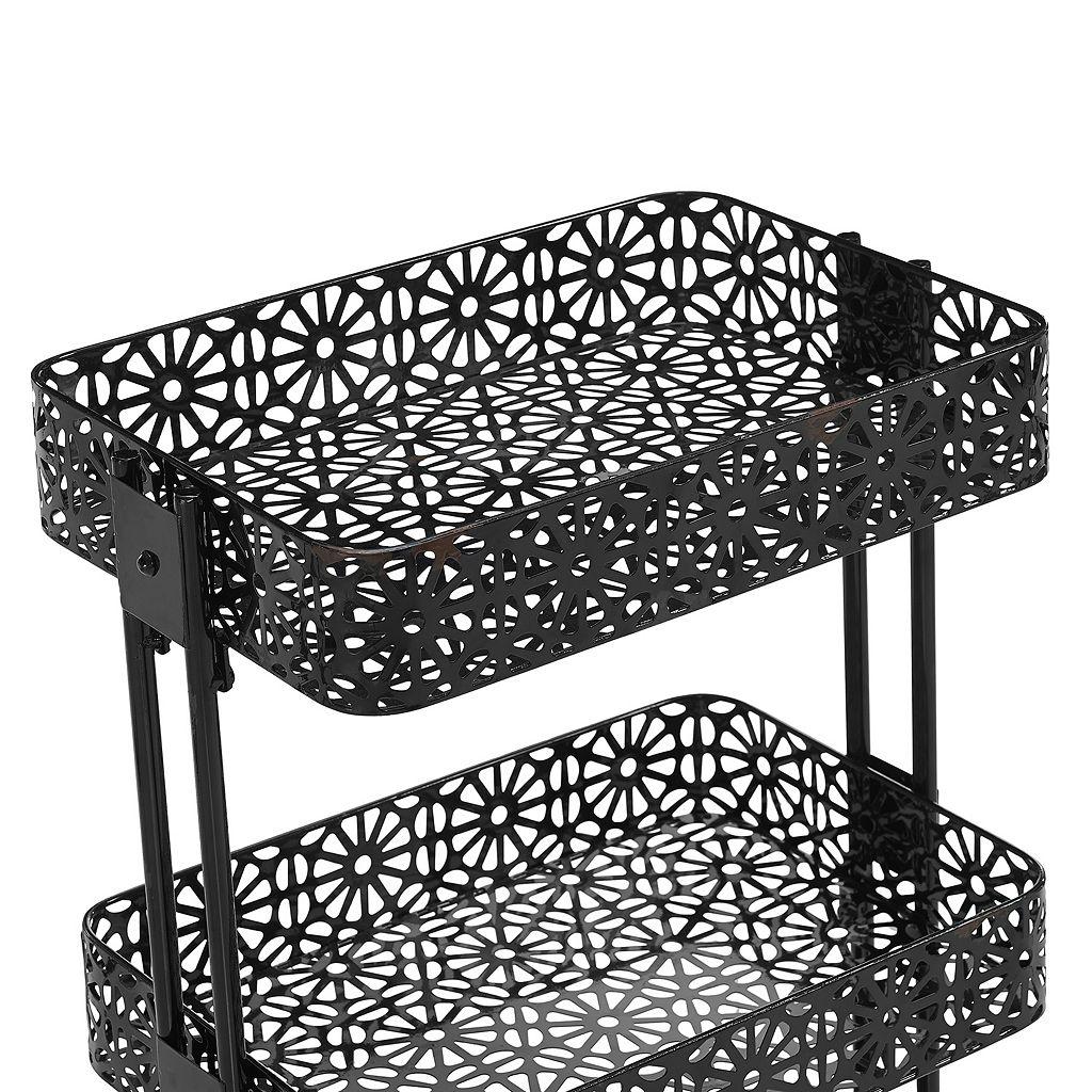 Linon Black 3-Tier Rolling Storage Cart