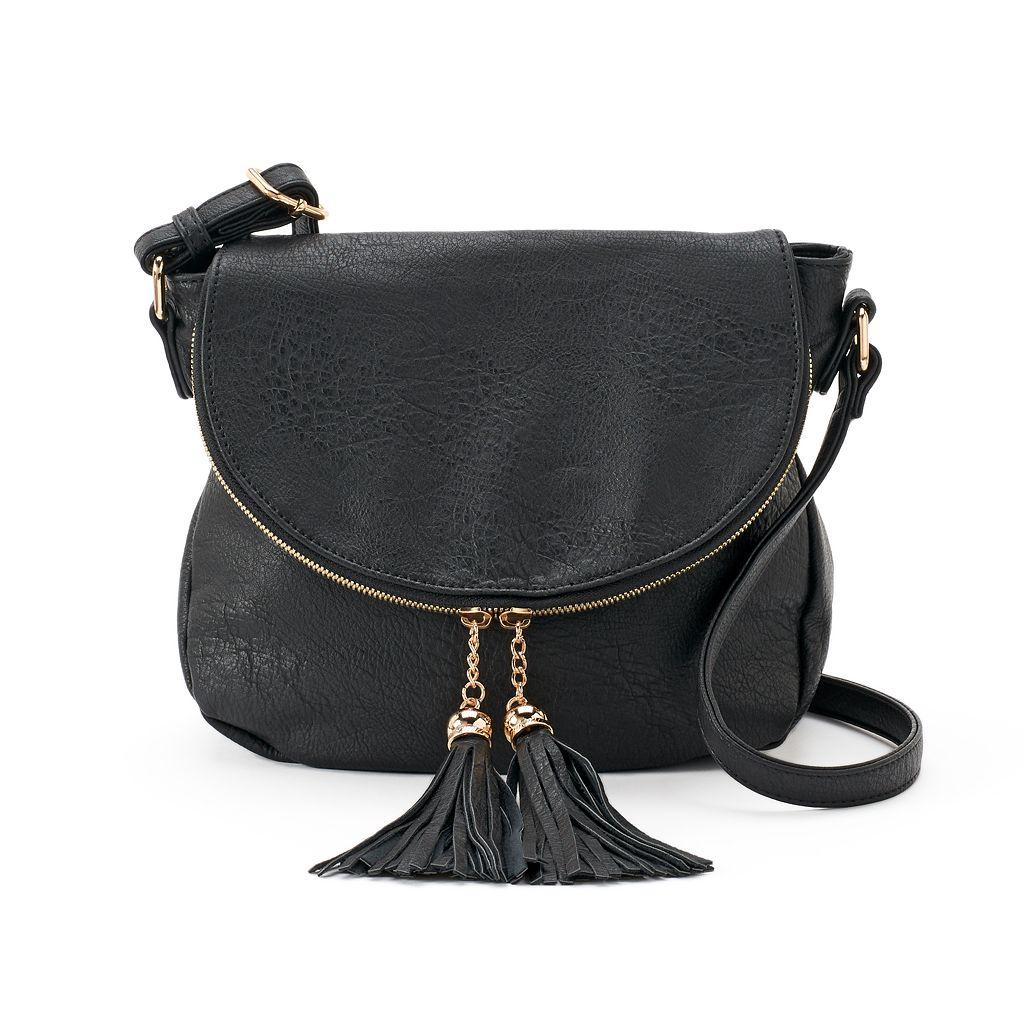 Deluxity Tassel Flap Crossbody Bag