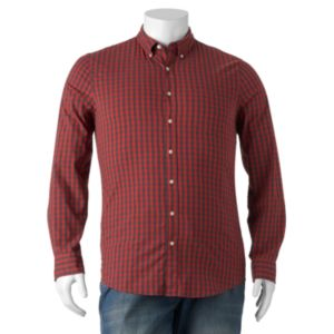 Big & Tall SONOMA Goods for Life™ Slim-Fit Plaid Poplin Stretch Button-Down Shirt