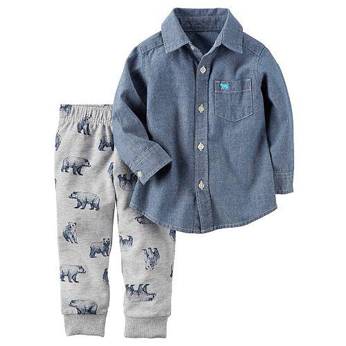 d180d549f Toddler Boy Carter's Chambray Button Down Shirt & Bear Pants Set