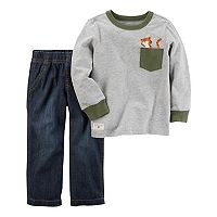 Toddler Boy Carter's Tiger Pocket Tee & Denim Pants Set
