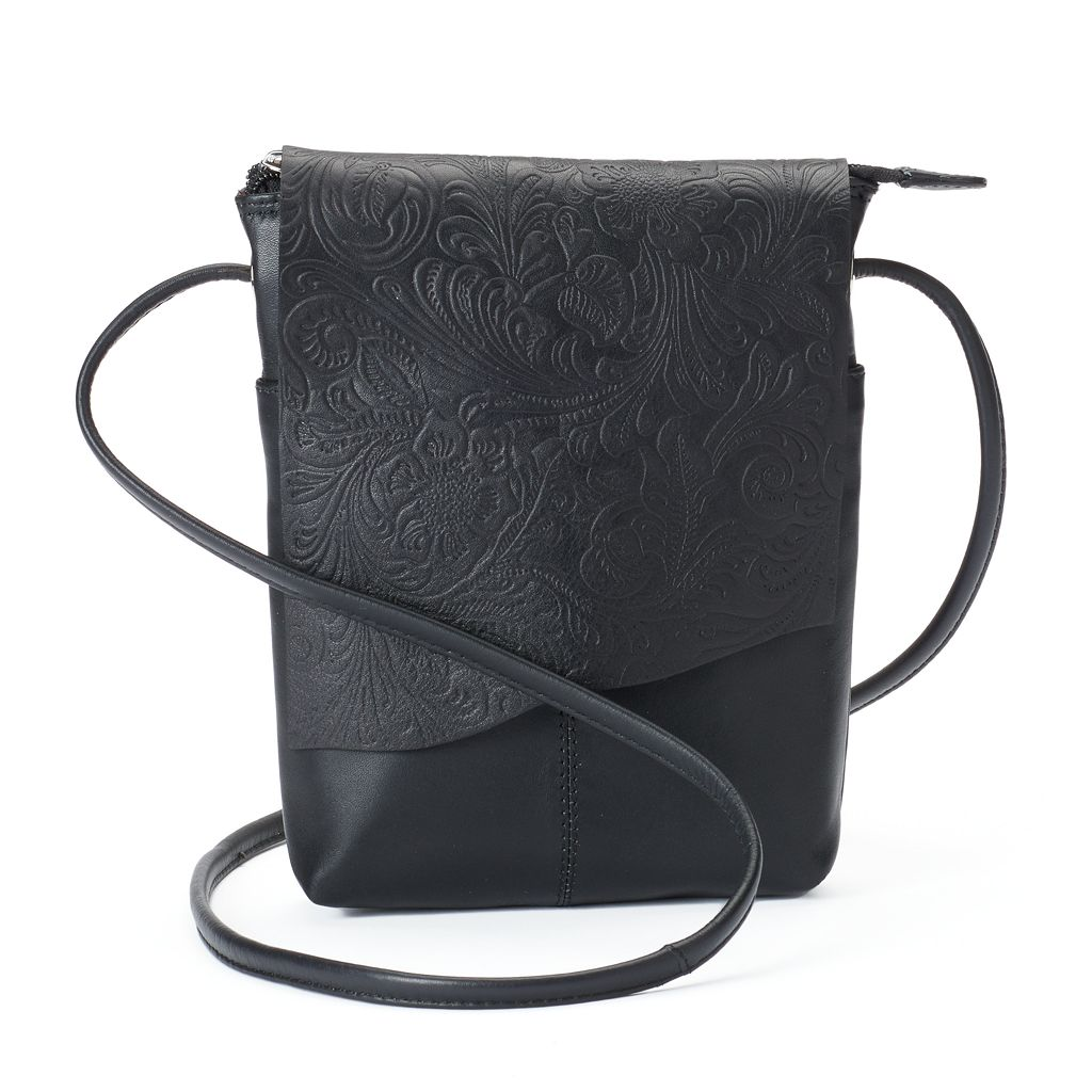ili RFID-Blocking Floral Embossed Leather Flap Crossbody Bag