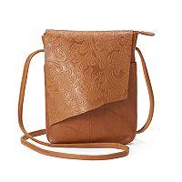 ili RFID-Blocking Floral Embossed Leather Flap Crossbody Bag
