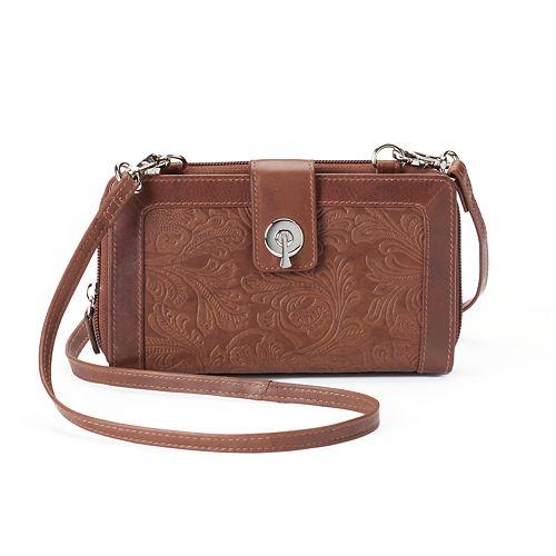 ili RFID-Blocking Floral Embossed Leather Smartphone Wallet