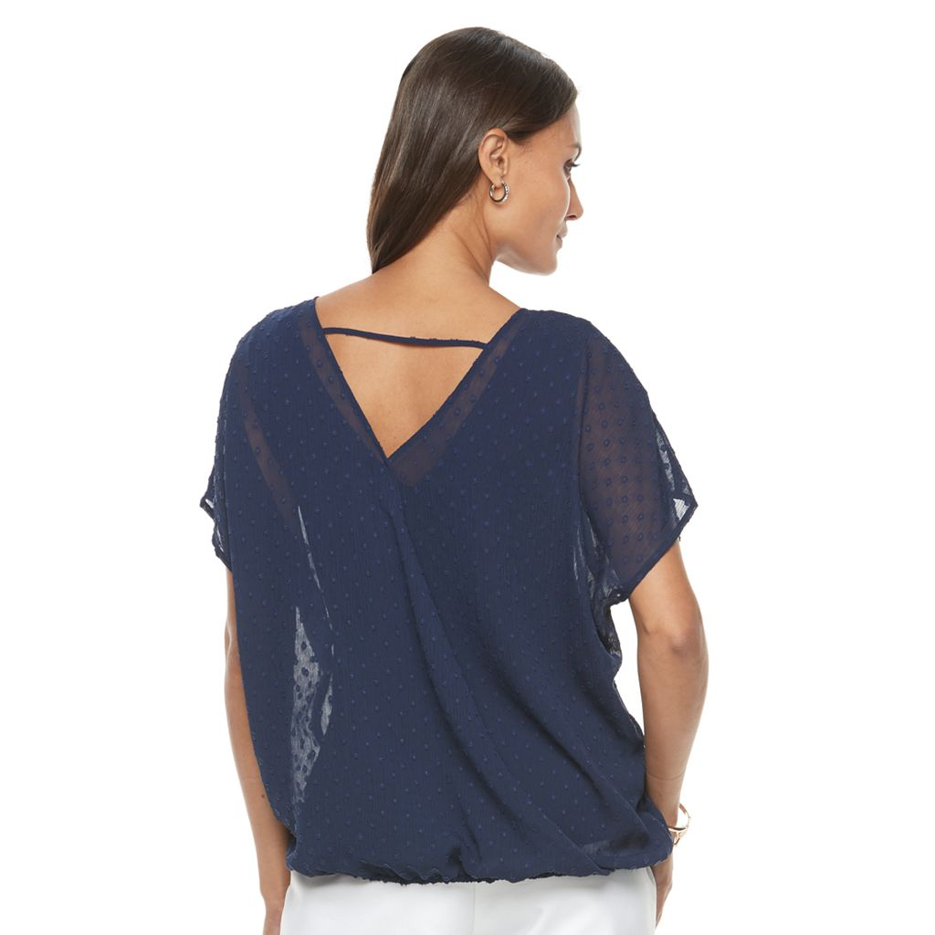 Women's Dana Buchman Embroidered Bubble-Hem Top