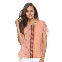 Women's Dana Buchman Geometric Bubble-Hem Top