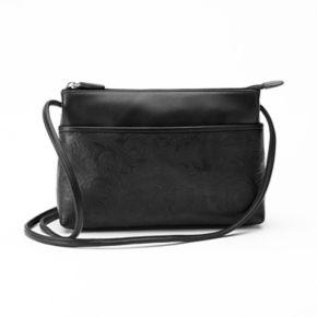 ili Floral Embossed Leather Crossbody Bag