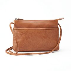 ili Floral Embossed Leather Crossbody Bag