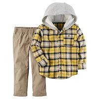 Toddler Boy Carter's Plaid Hooded Top & Pants Set