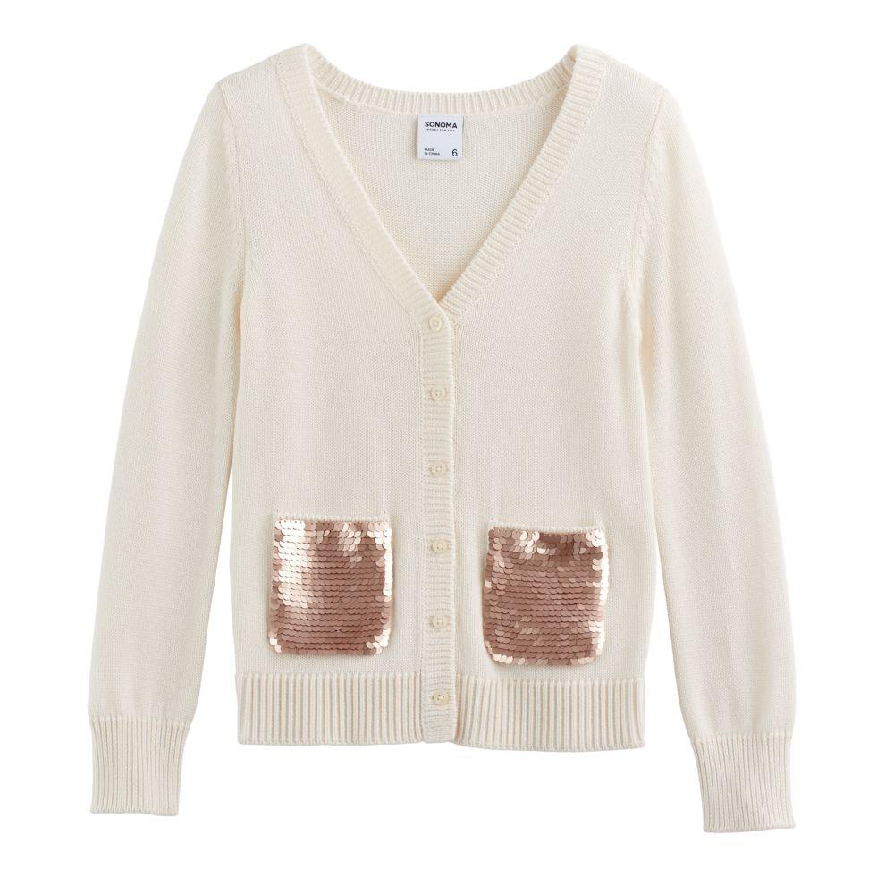 4-12 SONOMA Goods for Life™ Sequin Pocket Cardigan