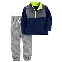 Toddler Boy Carter's 1/4-Zip Fleece Pullover Top & Pants Set