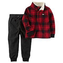 Toddler Boy Carter's Plaid Pullover Top & Fleece Pants Set