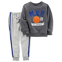 Toddler Boy Carter's 'MVP in Training' Shirt & Striped Pants Set