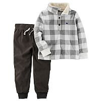 Toddler Boy Carter's Checked Pullover Top & Fleece Pants Set