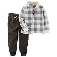 Toddler Boy Carter's Checked Pullover Top & Fleece Pants Set