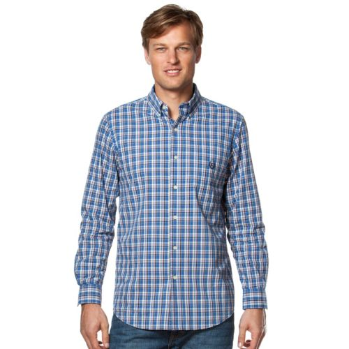 Big & Tall Chaps Plaid Easy-Care Poplin Shirt