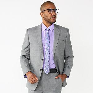 J.M Medium Grey Haggar Mens Big and Tall Premium Stretch Classic Fit 2-Button Coat 52L